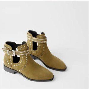 ZARA SUEDE STUDDED BOOTS new size 5 women/girls